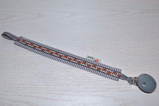 Bild von Schnullerband Tiger grau Streifen