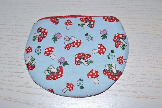 Bild von Minibörse Minipilze hellblau/rot