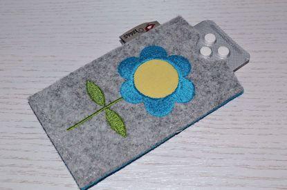 Bild von Tabletten-Etui Blümchen grau/türkis