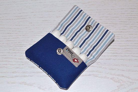 Bild von Hygienetäschchen Streifen blau/grau