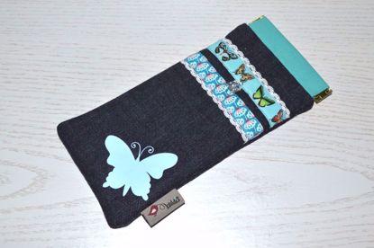 Bild von Brillen-Etui Schmetterling hellblau/türkis