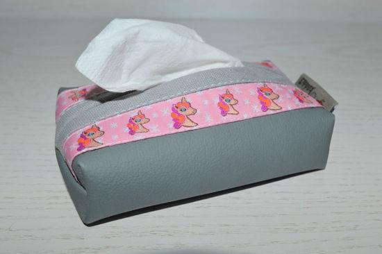 Bild von Taschentuchtascherl Kunstleder Einhorn grau/rosa