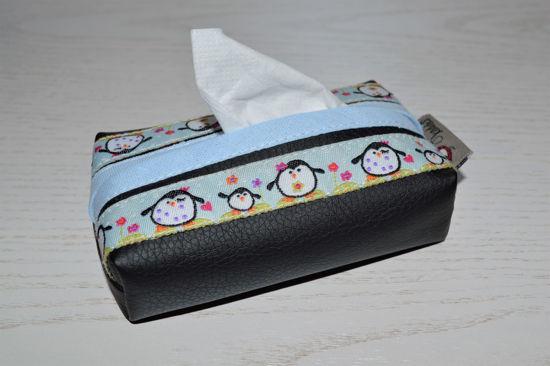 Bild von Taschentuchtascherl Kunstleder Pinguin schwarz