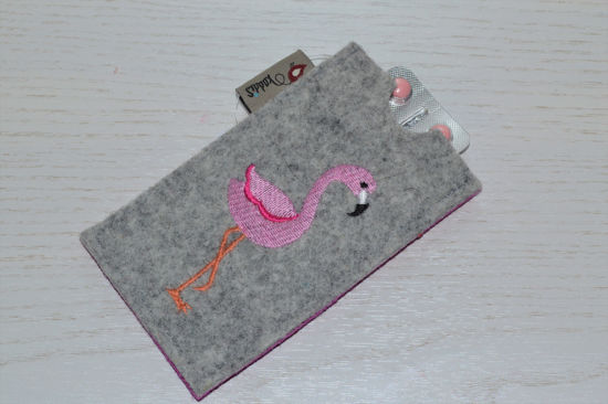 Bild von Tabletten-Etui Flamingo grau/pink