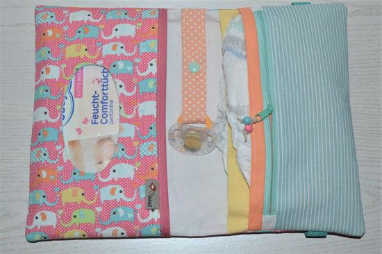 Bild von XL Windeltasche Minielefanten rosa/bunt