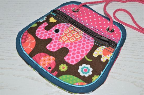 Bild von Brustbeutel Elefanten pink/bunt