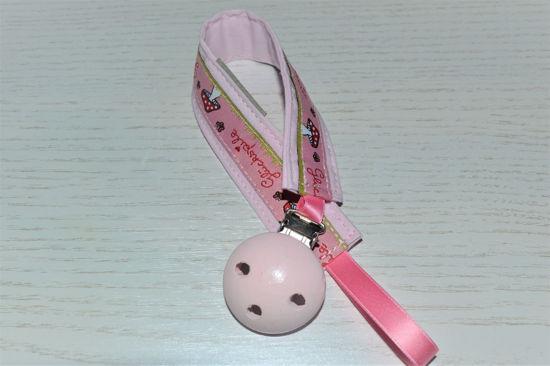 Bild von Schnullerband Glückspilz uni rosa
