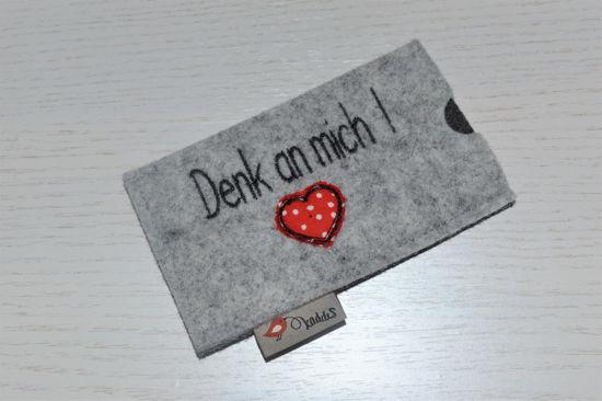 Bild von Tabletten-Etui Denk an mich hellgrau/rot