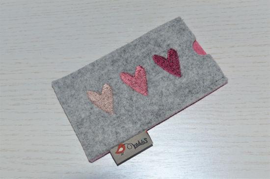 Bild von Tabletten-Etui Herz-Trio rosa/grau