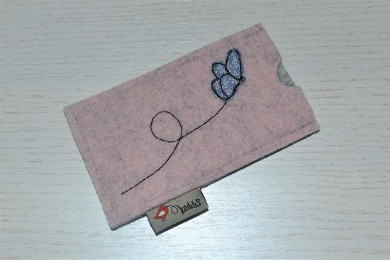 Bild von Tabletten-Etui Schmetterling rosé/grau
